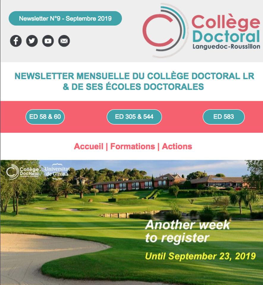 Newsletter du Collège Doctoral N°9 - 18/09/2019