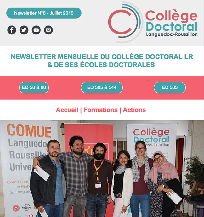 Newsletter du Collège Doctoral N°8 - 16/08/2019